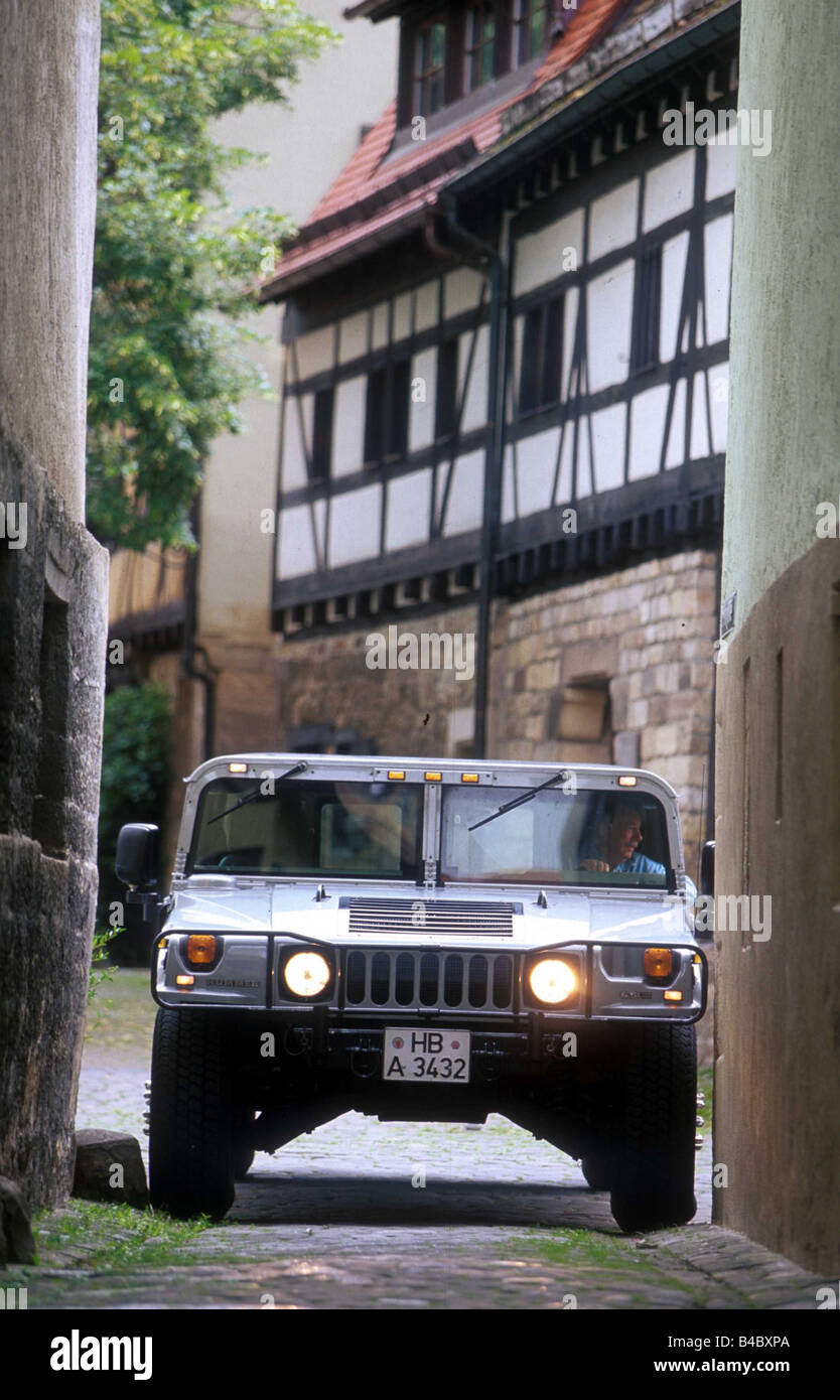 Car, Chevrolet Hummer 6.5L Impression, cross country vehicle, model year 1998-, gray, frontal view, standing, upholding, - Stock Image