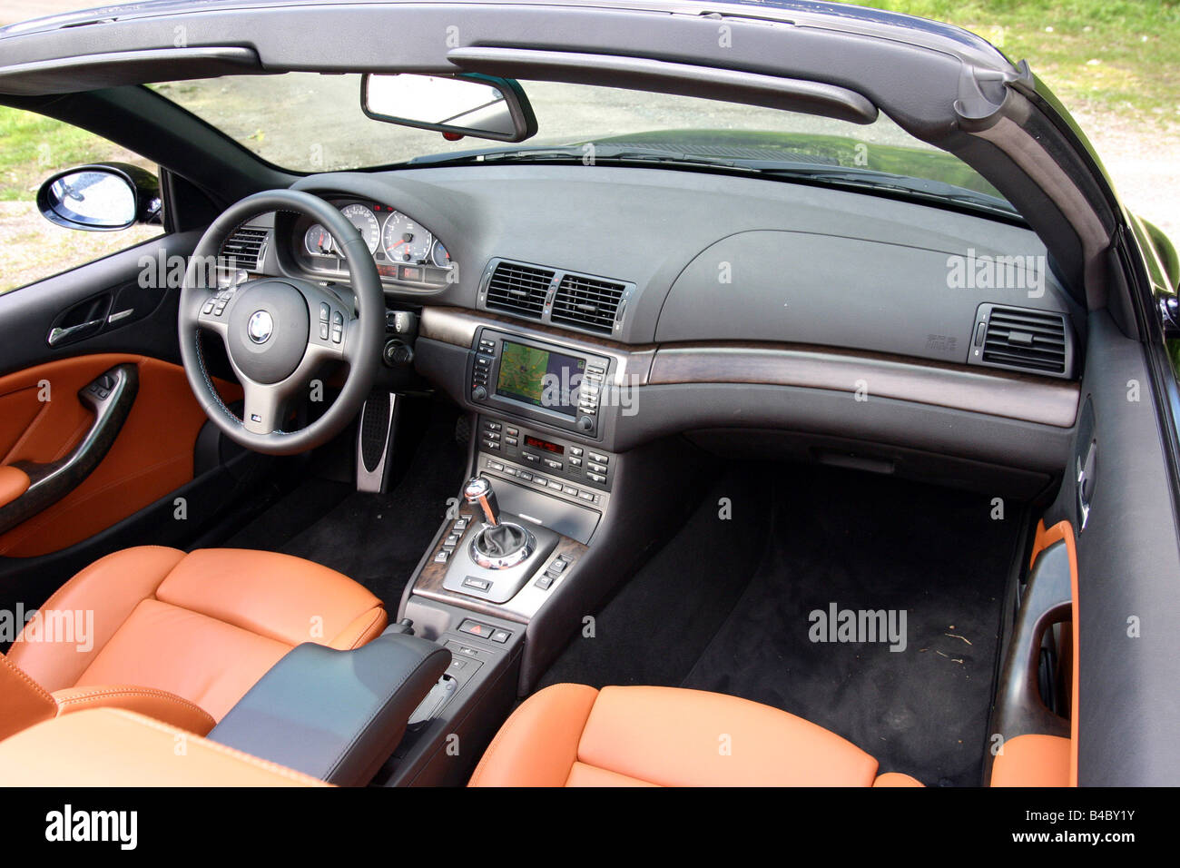 car bmw m3 convertible model year 2003 black open top interior stock photo 19931687 alamy. Black Bedroom Furniture Sets. Home Design Ideas
