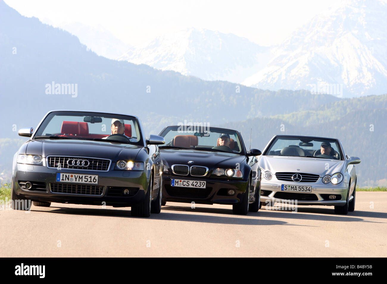 Car, group picture Convertibles, BMW M3, Audi S4, Mercedes CLK 55 AMG, landsapprox.e, Summer, photographer: Hans - Stock Image