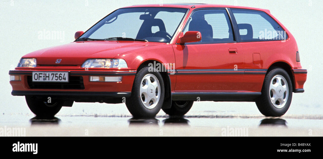 Car Honda Civic Model Year 1990 Red Small Approx Standing Upholding Diagonal From The Front Frontal View Side Ph