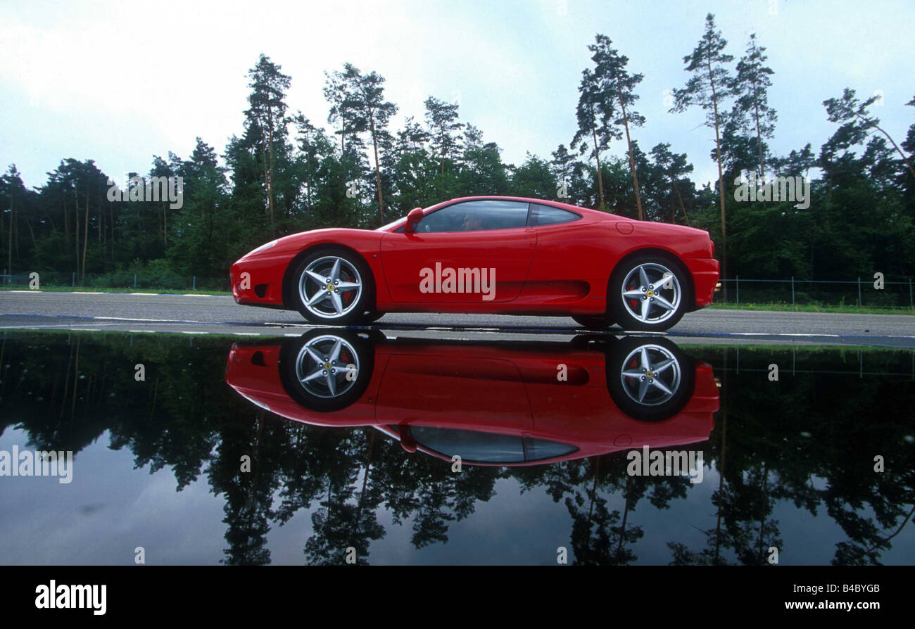 Car, Ferrari 360 Modena, Coupe, Roadster, Model Year 1999 , Red, Side View,  Standing, Upholding, Water Reflection, Landsapprox.e