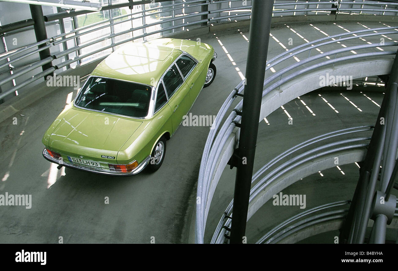 Car, NSU RO 80, Limousine, model year 1967-1977, Vintage approx., sixties, green yellow, driving, parking garage, - Stock Image