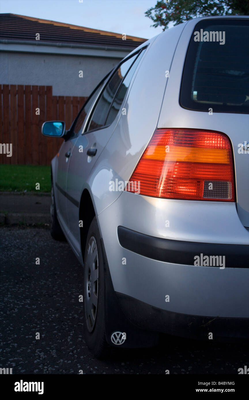 car wing silver rear side light cluster parked golf - Stock Image