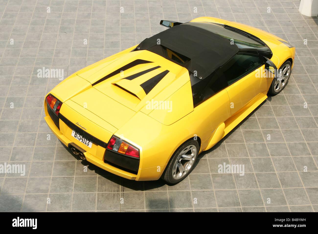 Car Lamborghini Murcielago Roadster Model Year 2004 Yellow Stock