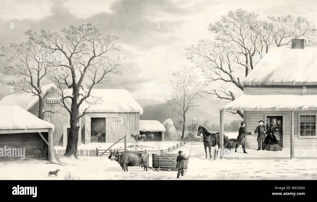Home for Thanksgiving - Black and White Print showing nostalgic Thanksgiving scene - Stock Image