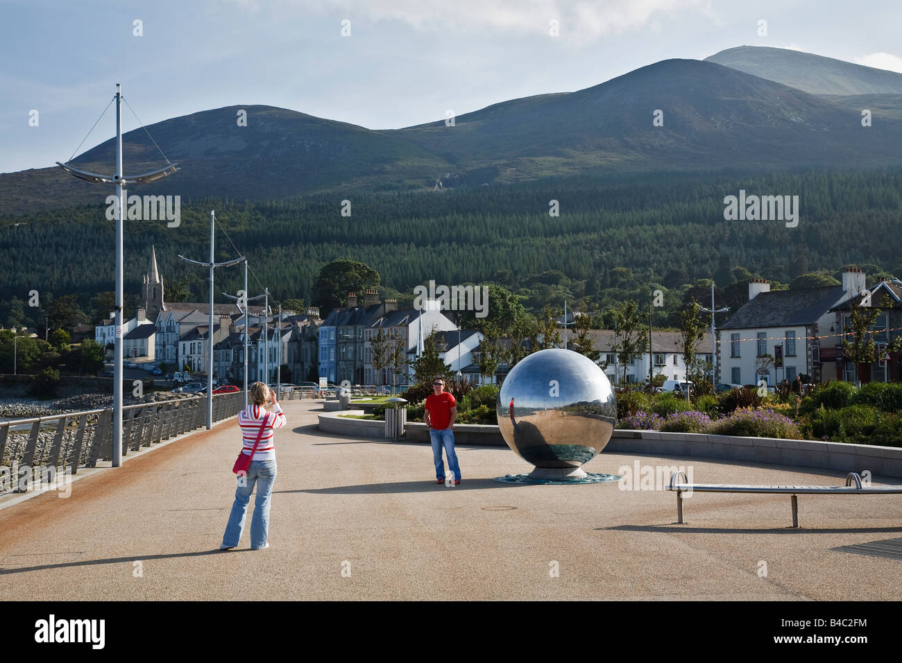 Sculpture on Newcastle promenade (Global Journeys by Chris Wilson), County Down, Northern Ireland, UK - Stock Image