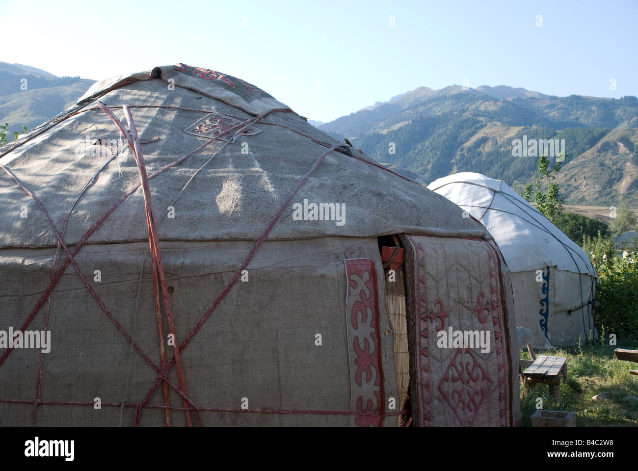 Two yurts in Kyrgyzstan - Stock Image