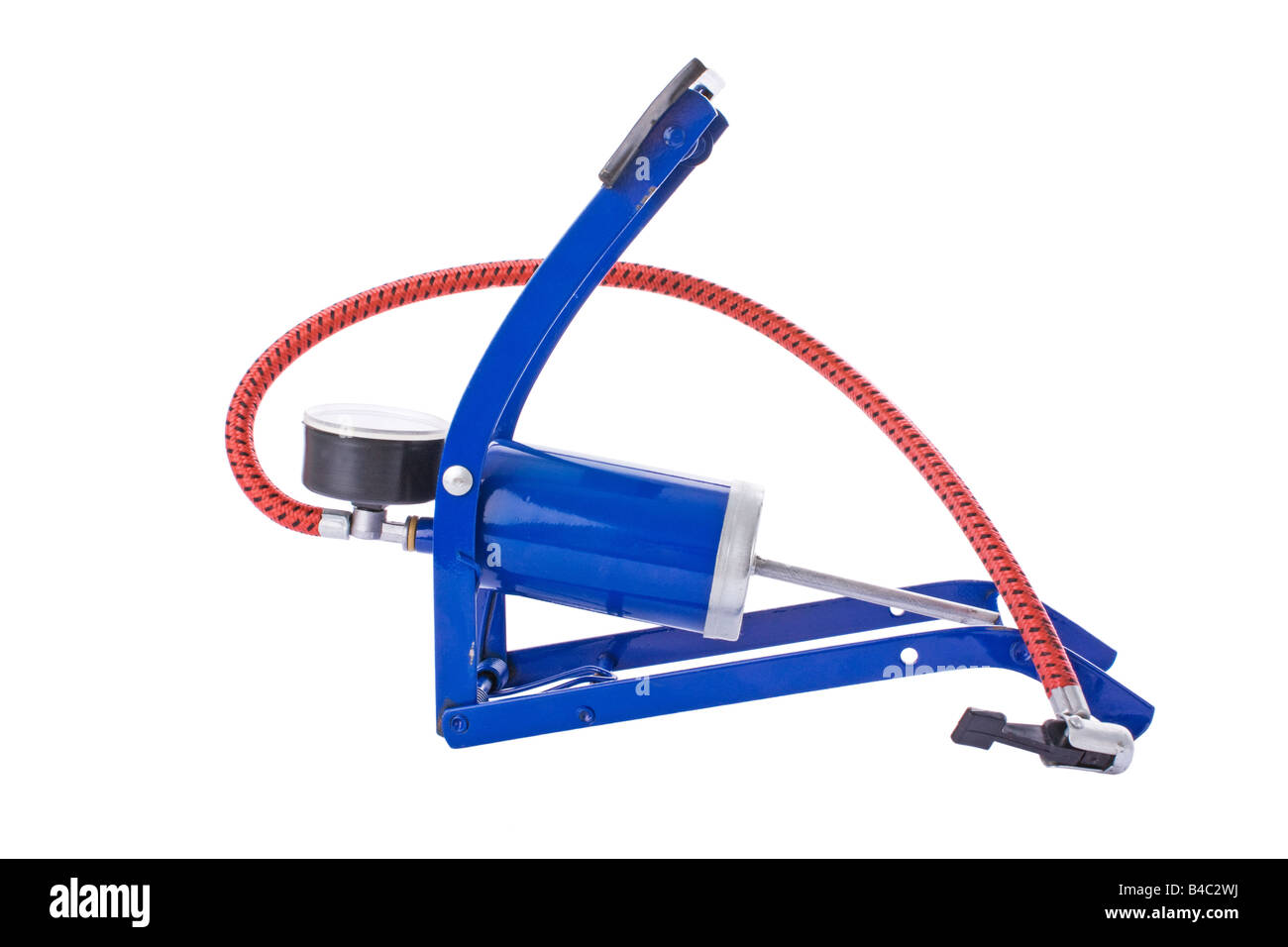 Foot pump isolated on a white background - Stock Image