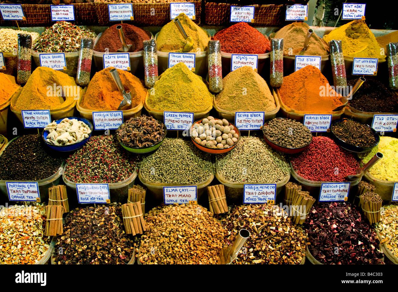 Istanbul The Spice Bazaar Mısır Carsısı or Egyptian Bazaar  is one of the oldest bazaars in the city. - Stock Image