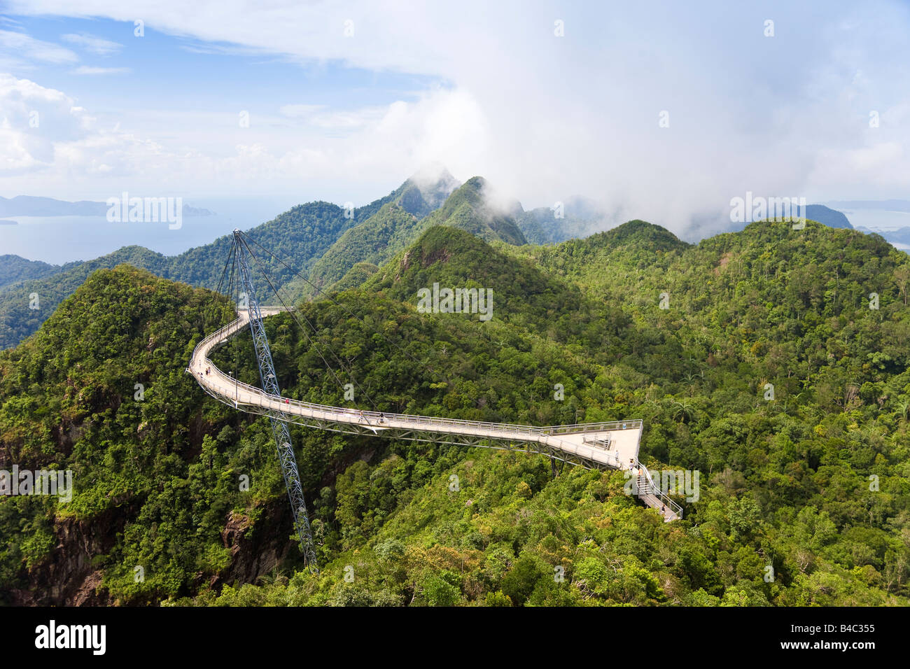 Asia, Malaysia, Langkawi Island, Pulau Langkawi, Hanging suspension walkway above the rainforest canopy - Stock Image