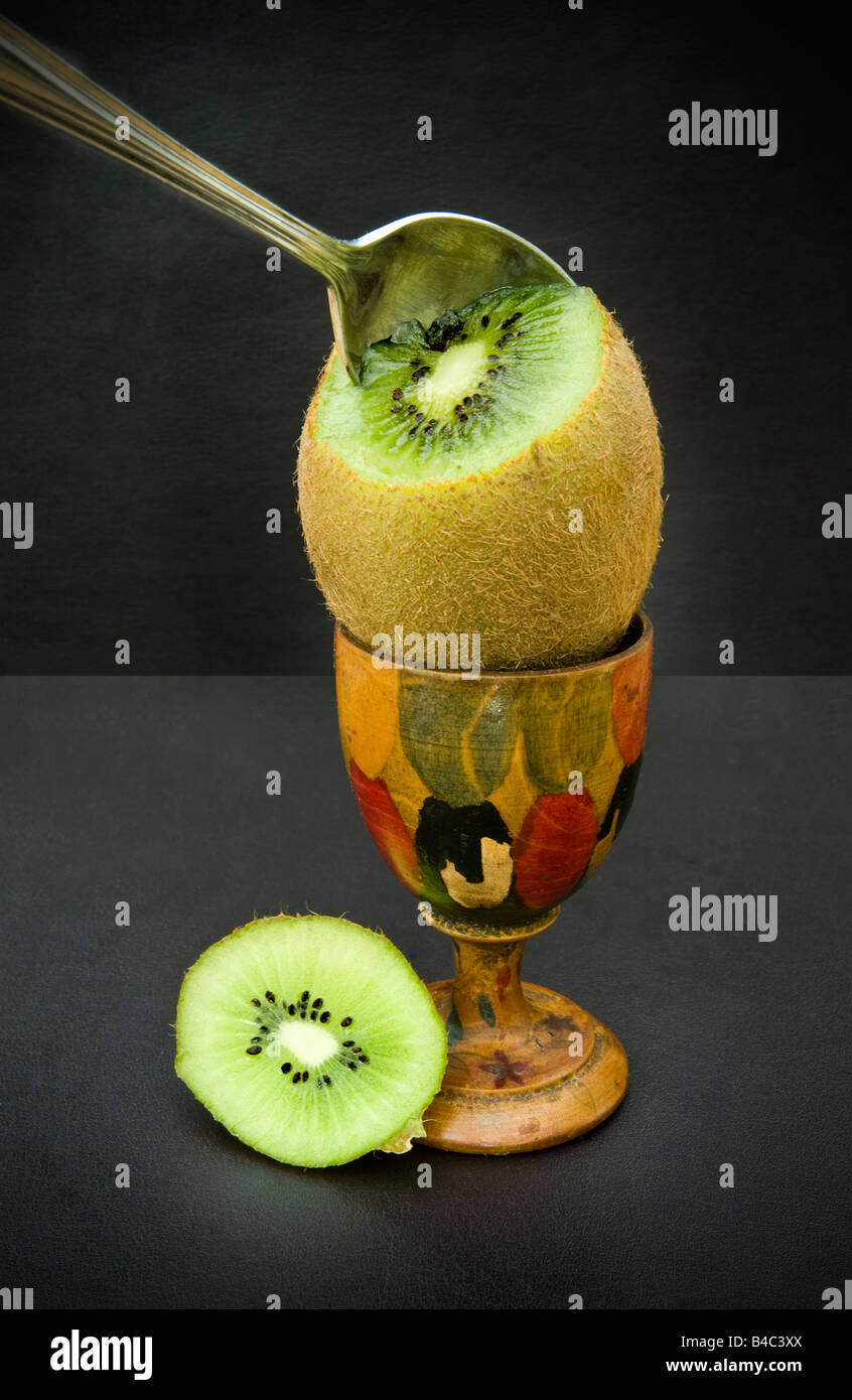 Healthy breakfast replacement for a boiled egg a kiwi fruit - Stock Image