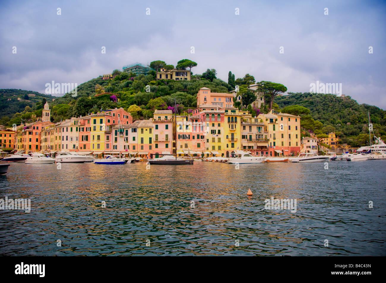 Portofino harbour Liguria Italy Europe - Stock Image