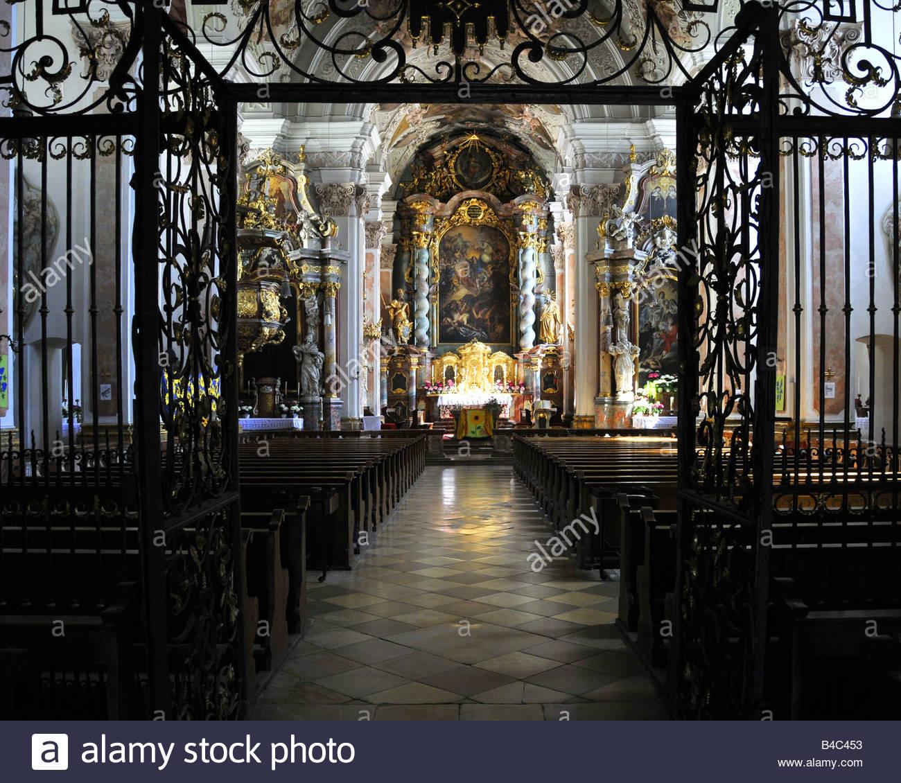 DE - LOWER BAVARIA: Interior of St. Michael's Klosterkirche at Metten (Benedictine Monastery) - Stock Image