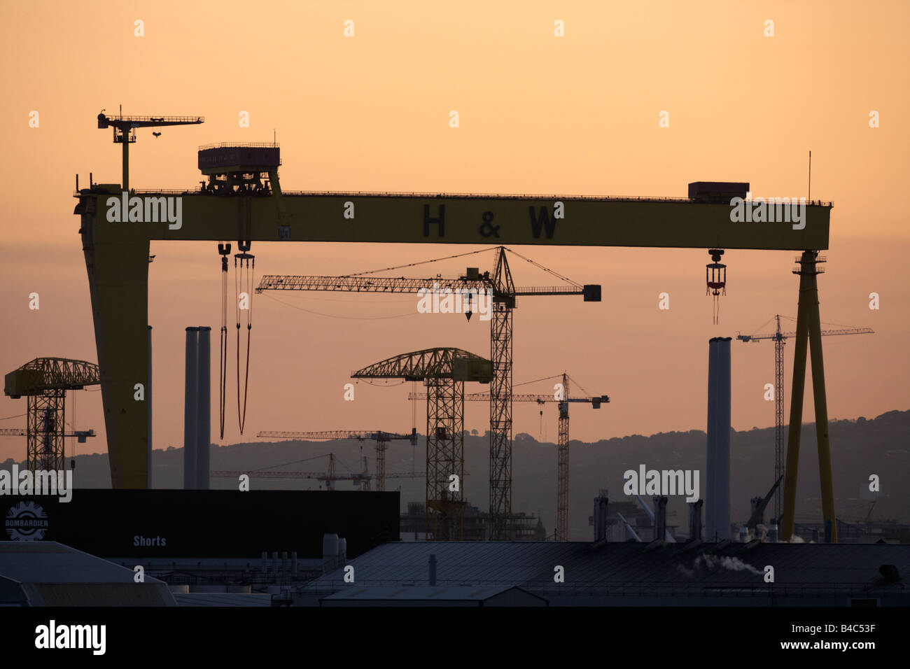 The Harland and Wolff shipyard cranes belfast city centre northern ireland uk - Stock Image