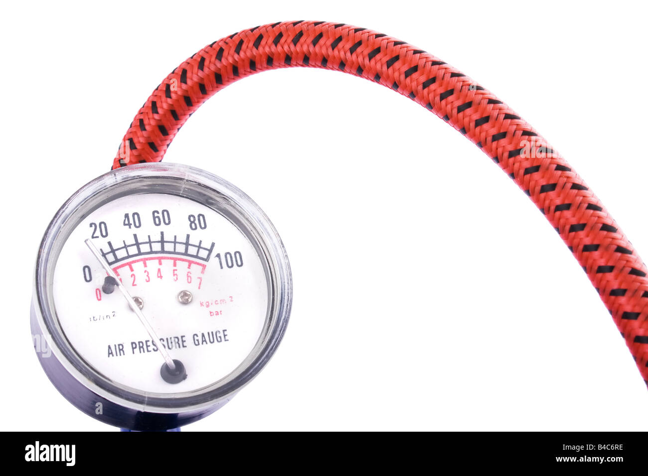 Air Pressure Gauge or Manometer isolated on a white background - Stock Image