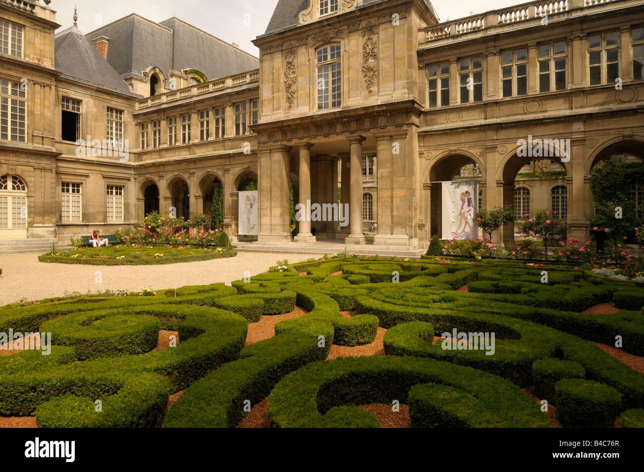courtyard and garden at Musée Carnavalet in Paris France - Stock Image