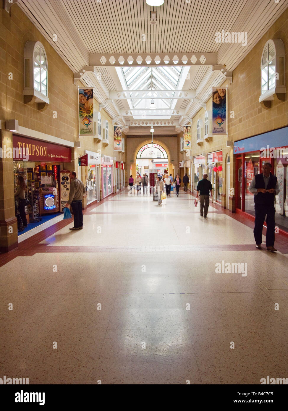 Quiet period for shoppers inside Emery Gate arcade in Chippenham Wiltshire England UK - Stock Image