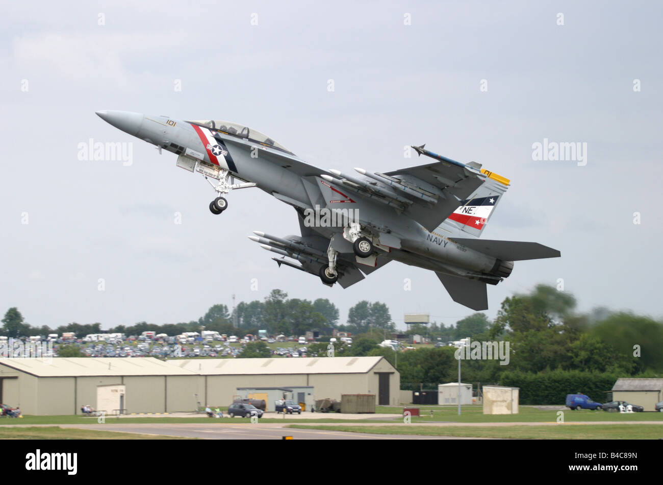 US Navy F 18 Hornet getting airbourne from RAF Fairford Gloucestershire England from USS Abraham Lincoln - Stock Image