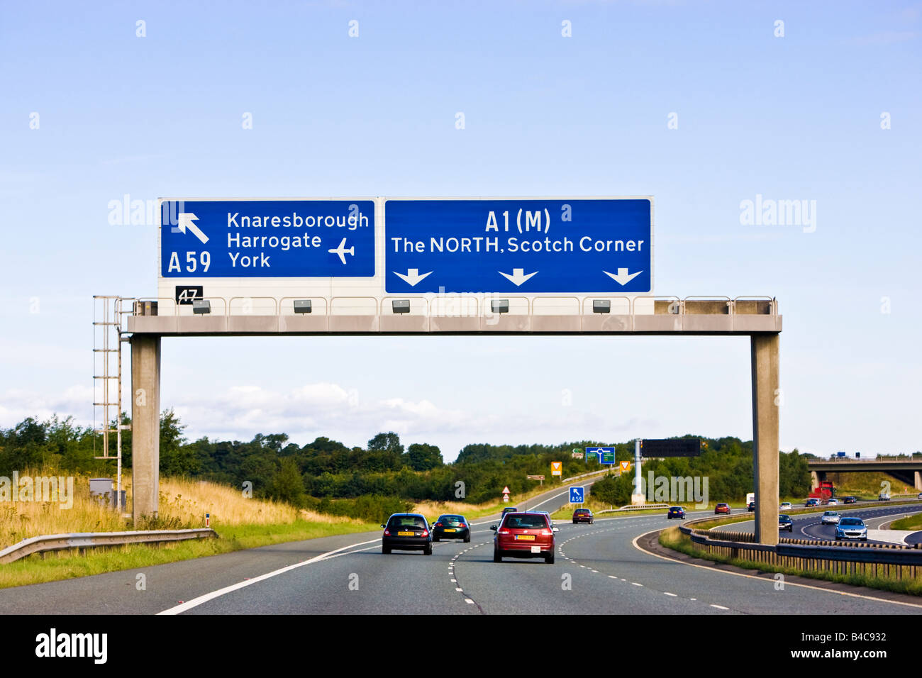 Driving towards the north on the A1M, a UK motorway in England, UK - Stock Image