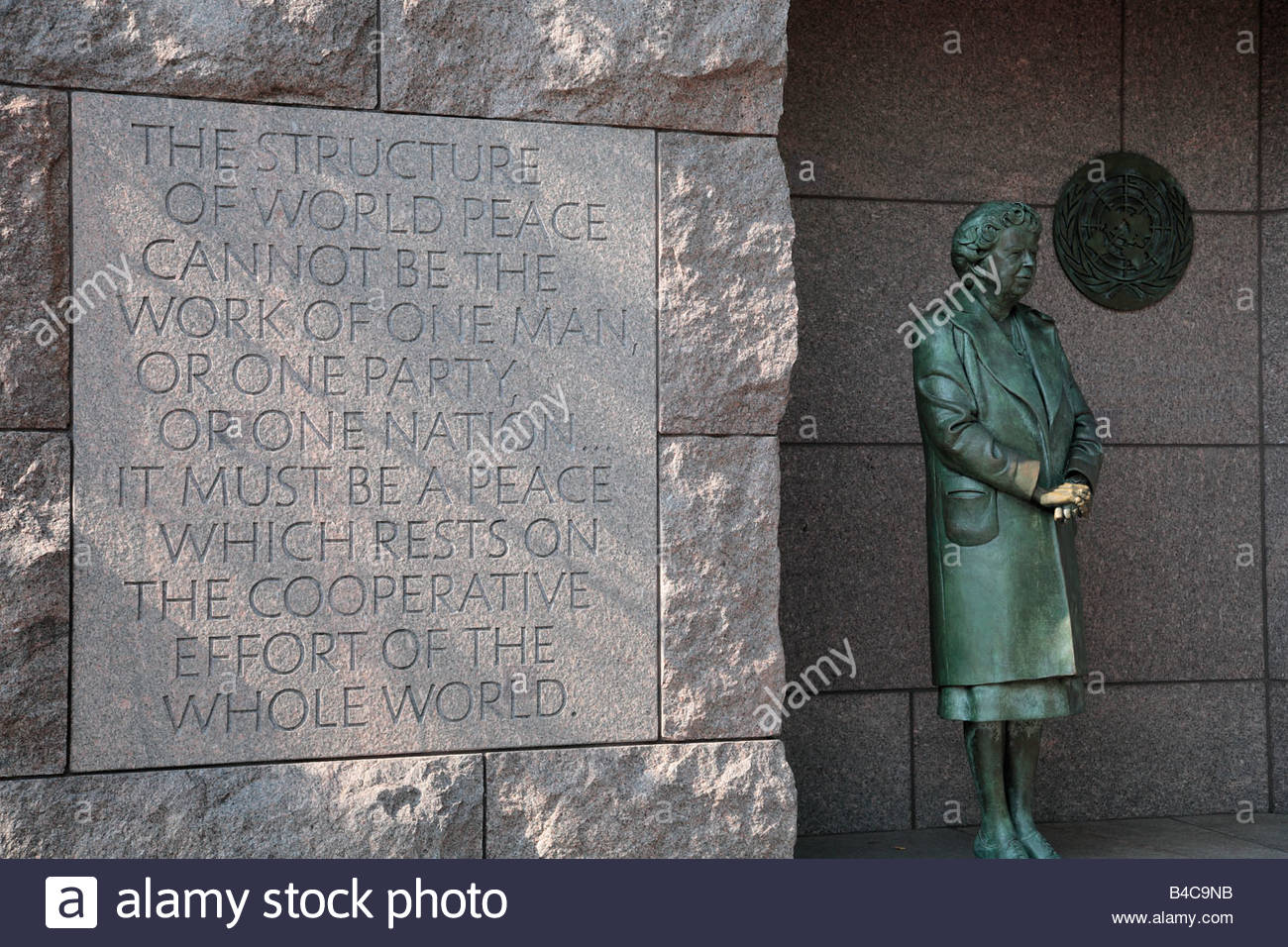 Alcove memorializing Eleanor Roosevelt, at the FDR Memorial in Washington, DC. - Stock Image