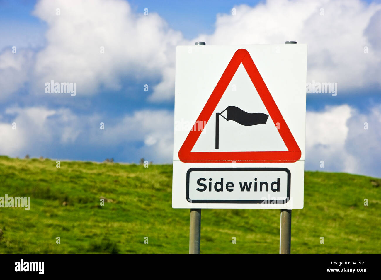 Warning road sign of Side Winds England UK - Stock Image
