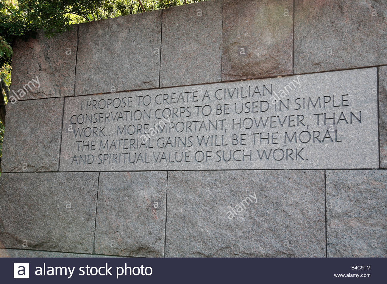 Engraving memorializing the creation of the Civilian Conservation Corps, at the FDR Memorial in Washington, DC. - Stock Image