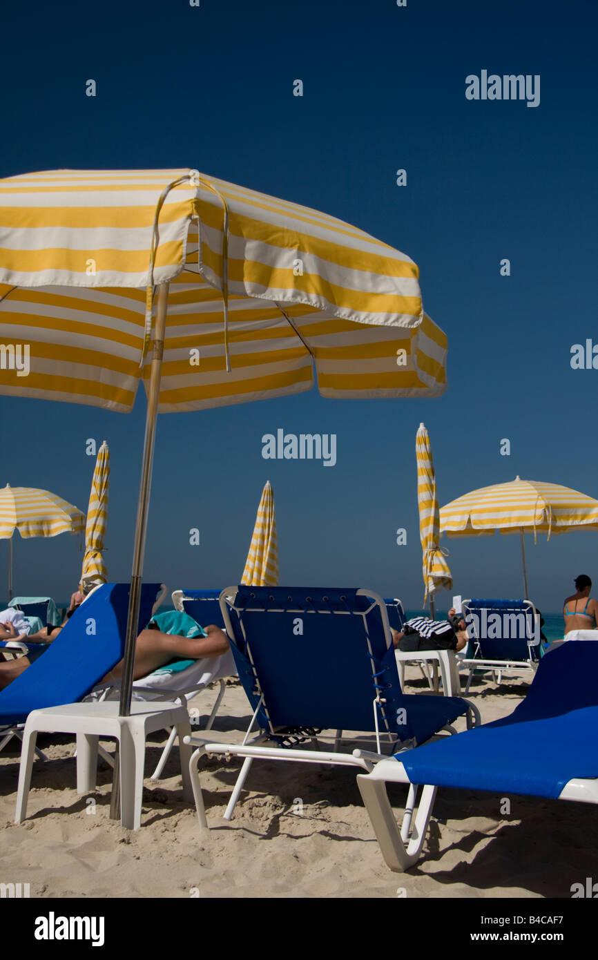 Beach Loungers in Dubai - Stock Image