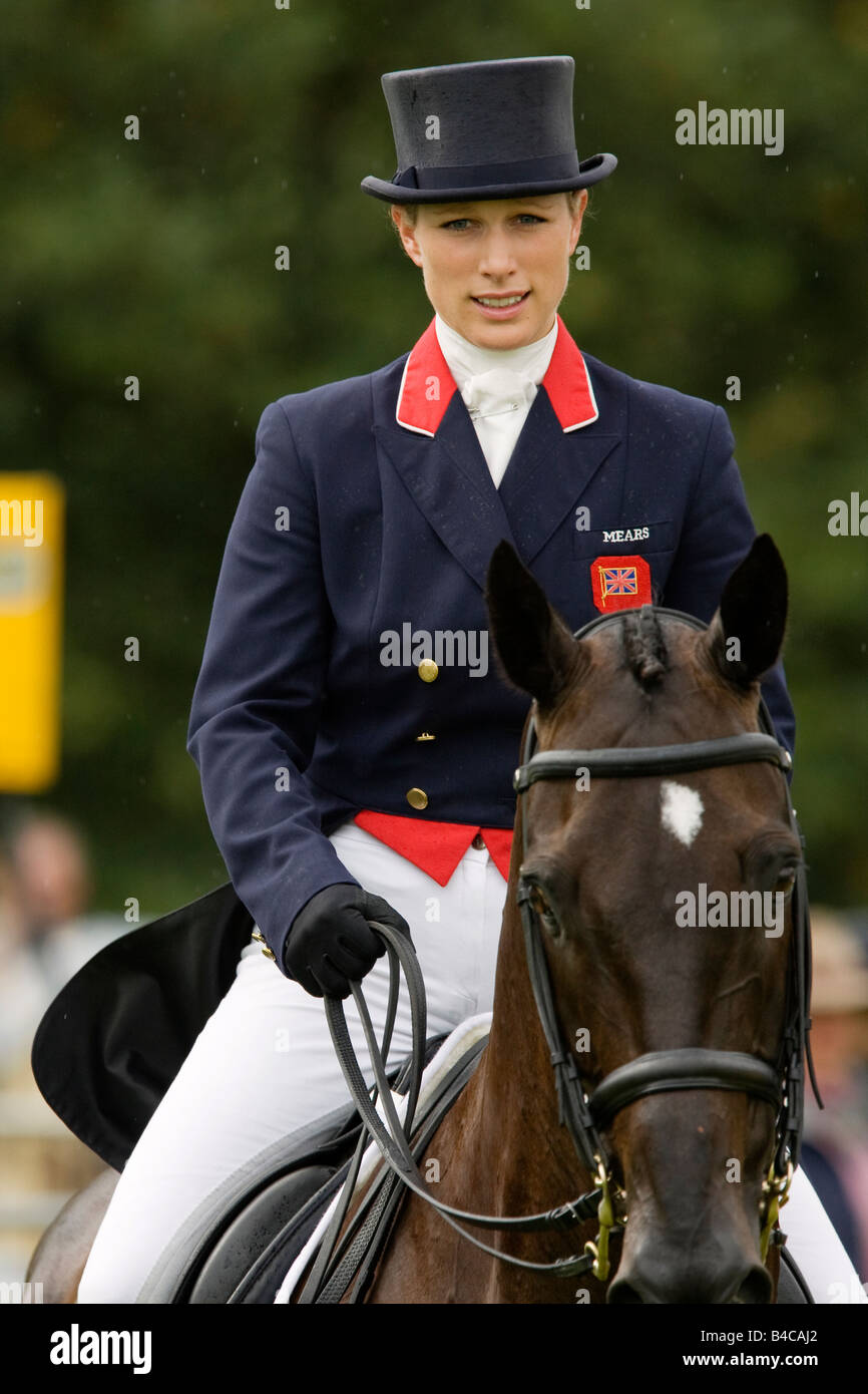 Zara Phillips competing at the Burghley Horse Trials in Leicestershire in a light shower September 2008 - Stock Image