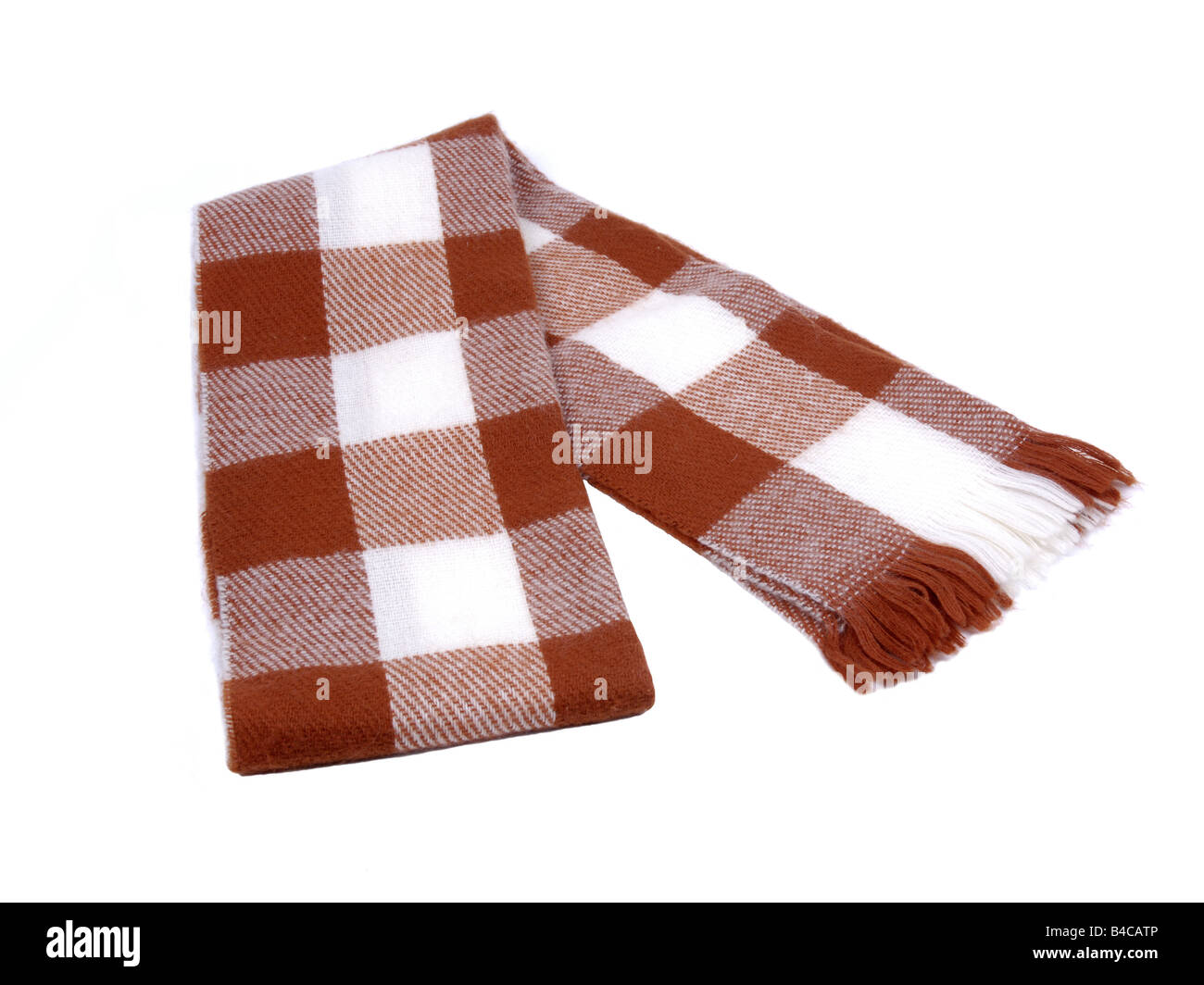 Brown checkered winter wool scarf - Stock Image