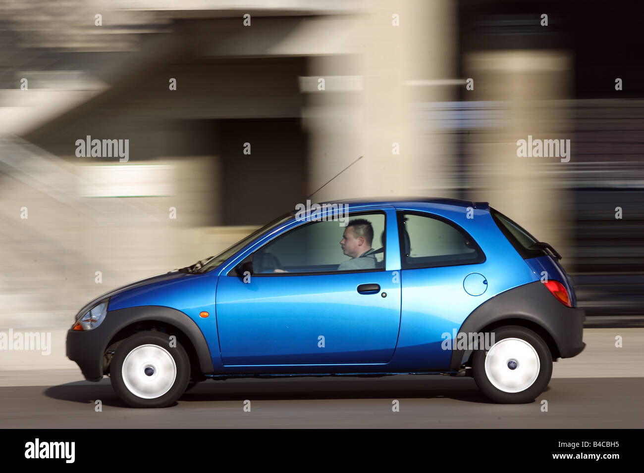 Car Ford Ka Student Model Year  Blue Limousine Miniapprox S Driving Side View City Photographer Achim Hartmann