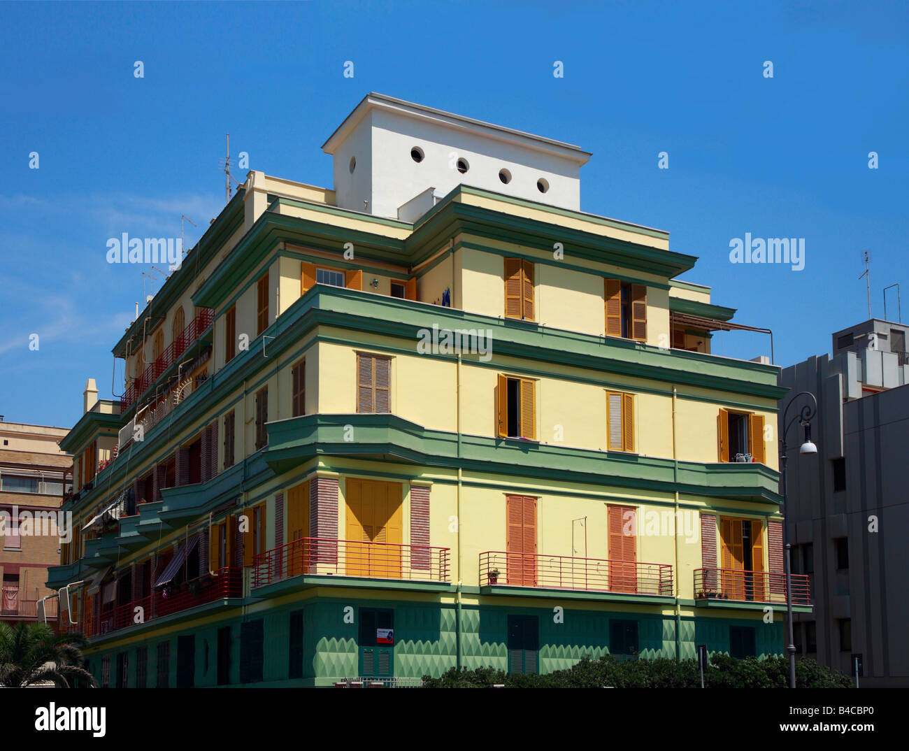 art deco appartment block at Ostia near Rome - Stock Image