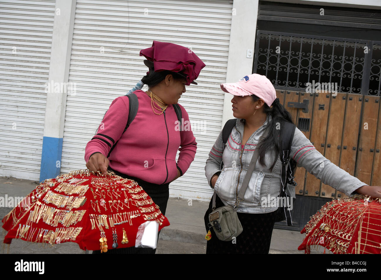 Women selling Jewerly, Saquisili Market, Ecuador - Stock Image