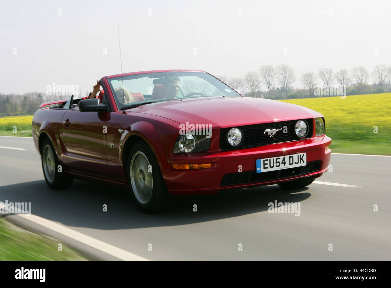 Ford Mustang Gt Convertible Stock Photos 1964 Car Model Year 2005 Ruby Colored Driving