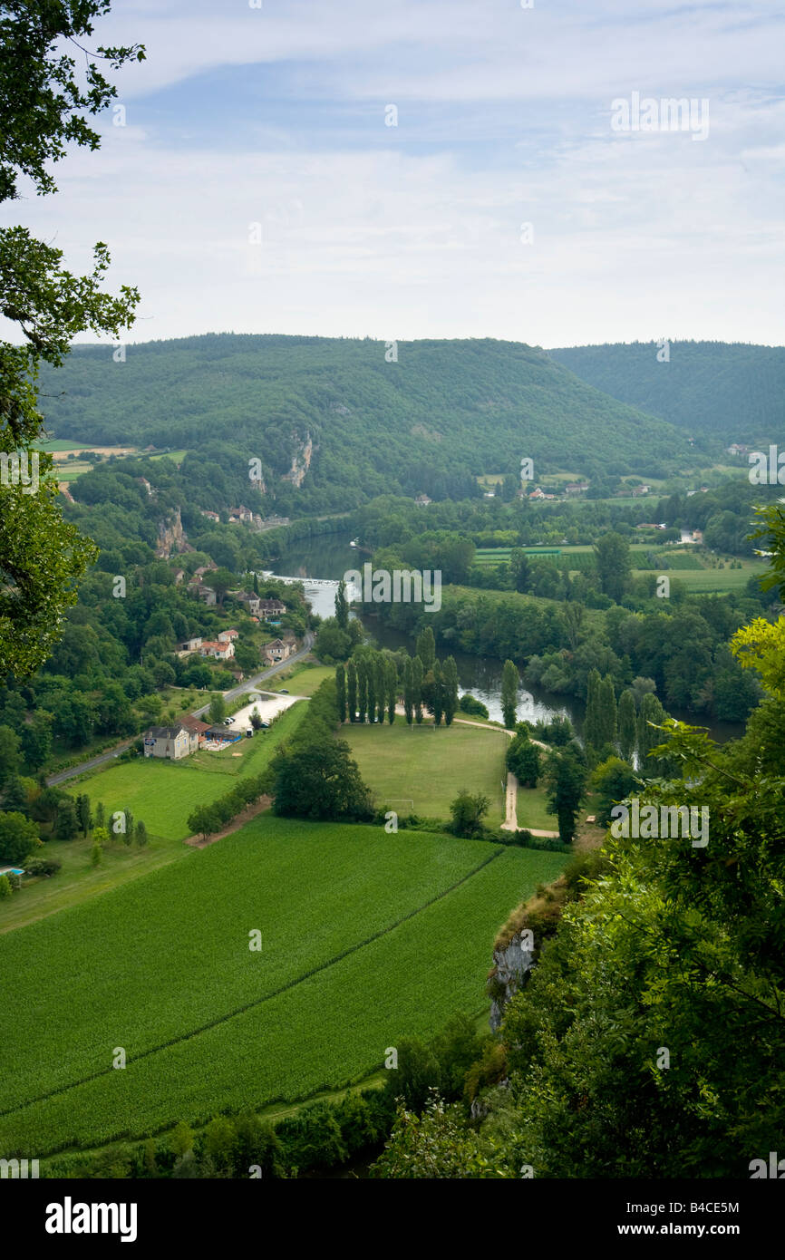 Lot Valley view from St Cirq Lapopie, 46, Lot, Midi Pyrenees, France, Europe - Stock Image