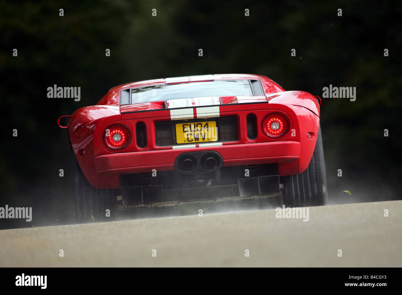 Ford Gt Model Year  White Red Driving Diagonal From The Back Rear View Country Road
