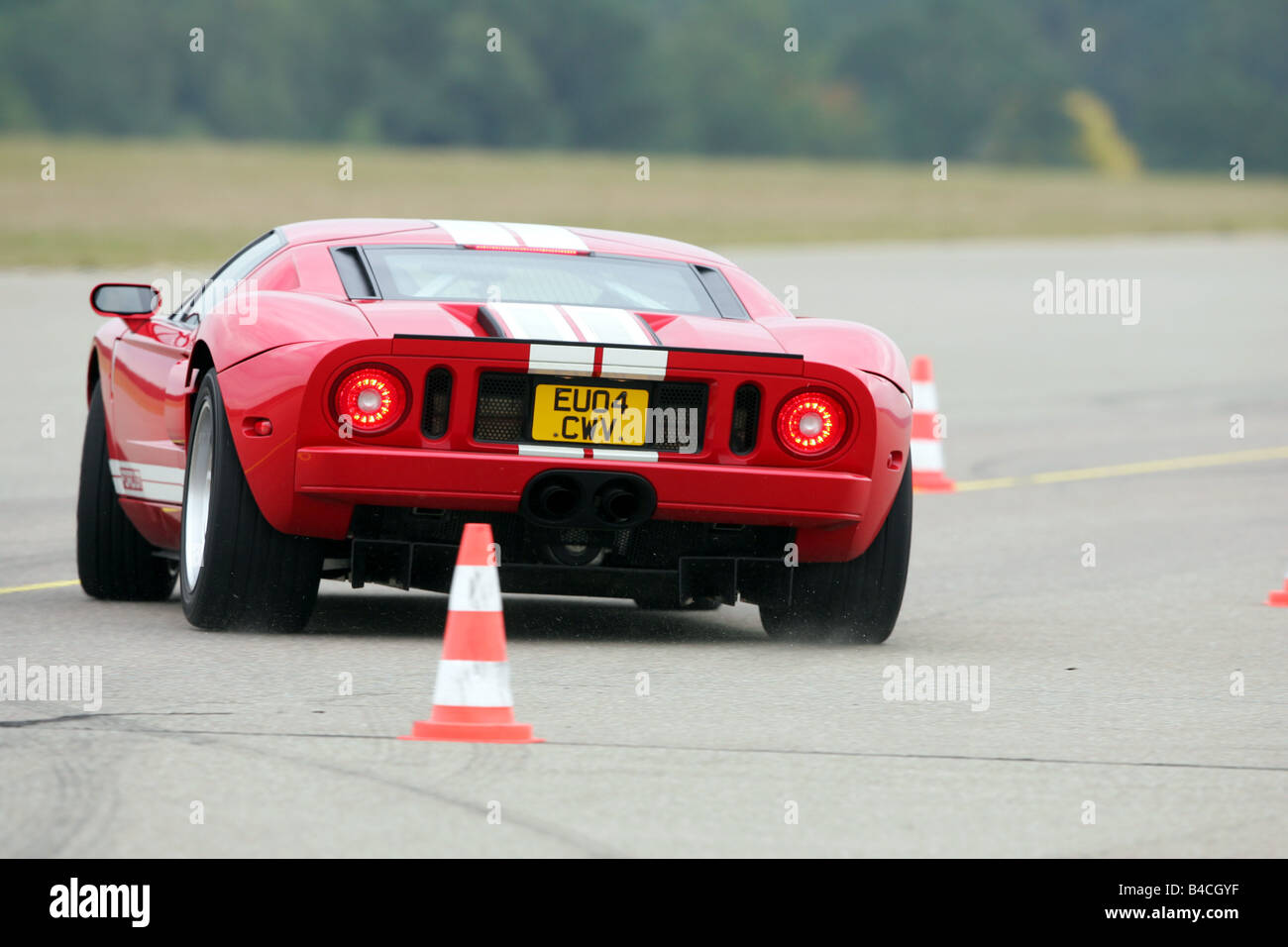 Ford Gt Model Year  White Red Driving Diagonal From The Back Rear View Test Track Pilonen