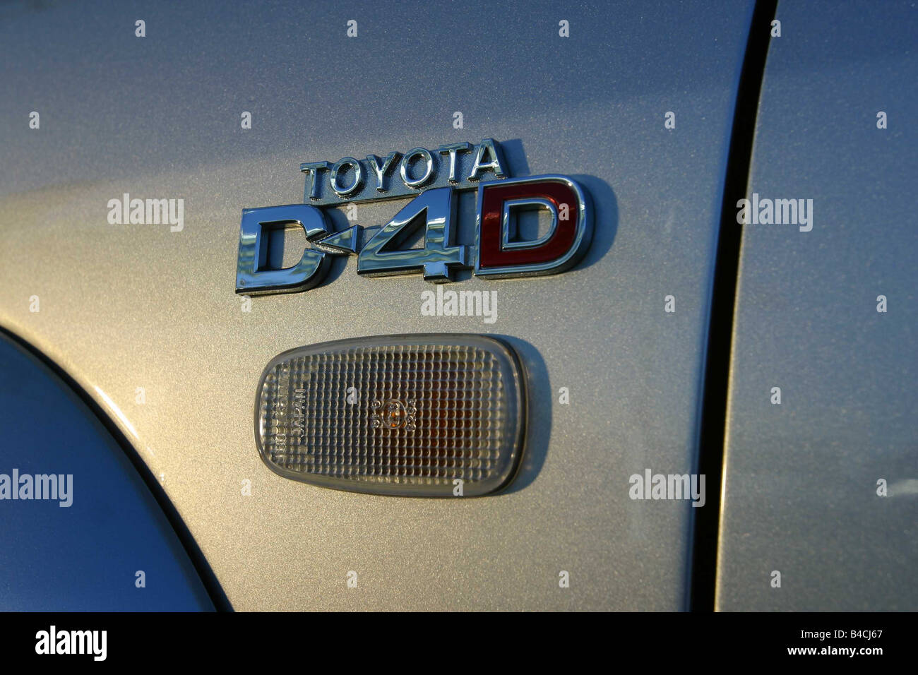 Car, Toyota Landcruiser, cross country vehicle, model year 2002-, silver, Detailed view, Model designation - Stock Image