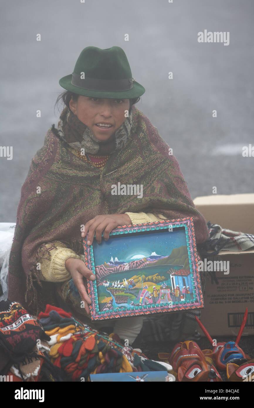 Selling souvenirs, Otavalo, Ecuador - Stock Image