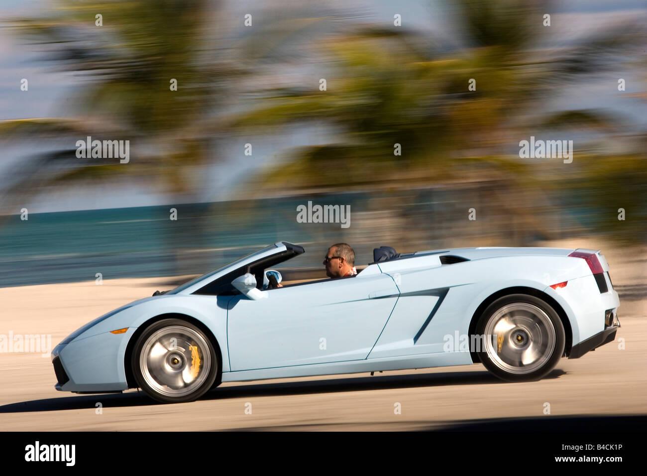 Lamborghini Gallardo Spider Model Year 2005 Hellblue Moving Side