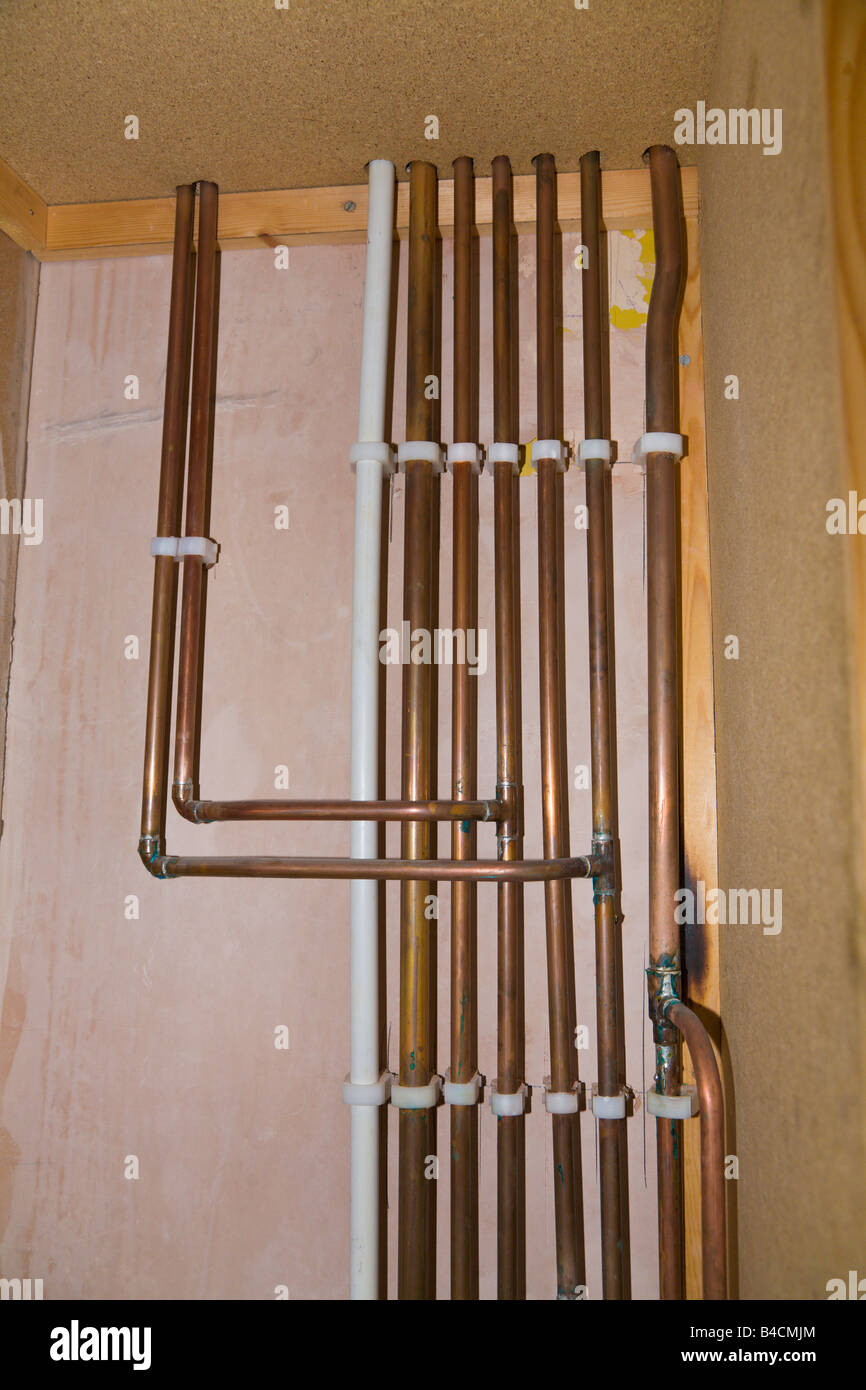 Copper Central Heating Pipes Stock Photo 19948620 Alamy