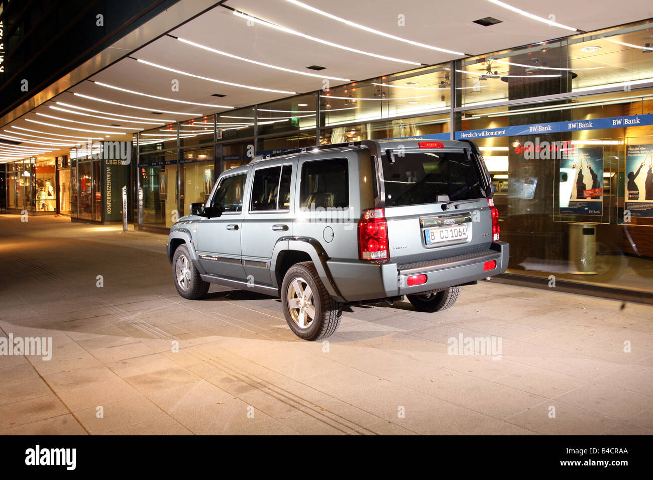 Jeep Commander 3.0 CRD, model year 2006-, silver, standing, upholding, diagonal from the back, rear view, side view, - Stock Image