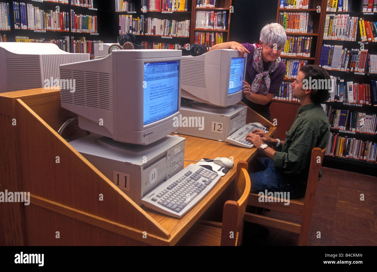 library computering - Stock Image