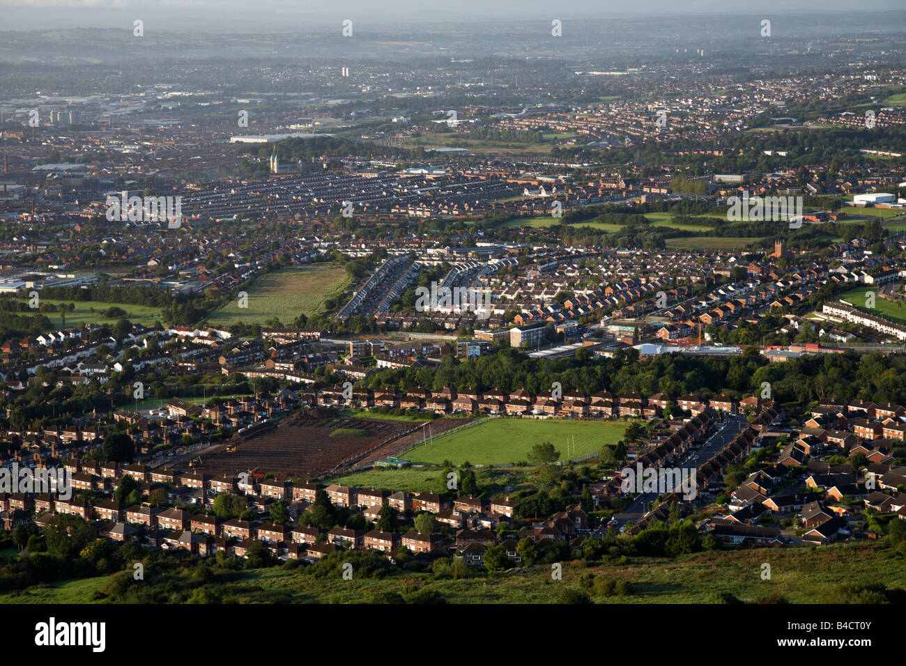 View from top of Cave Hill overlooking north and west Belfast belfast northern ireland uk - Stock Image