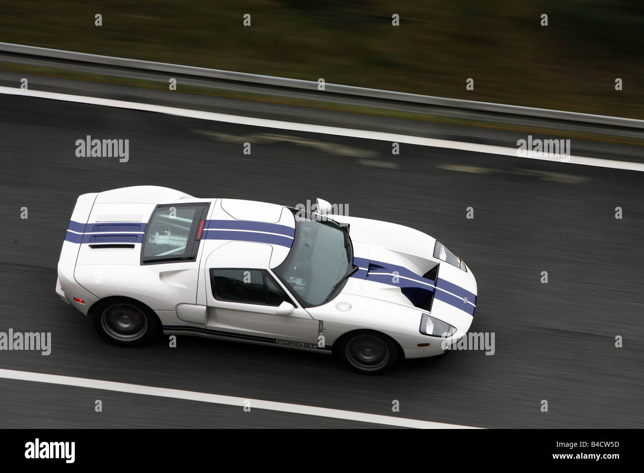 Ford Gt Model Year  White Blue Moving Side View