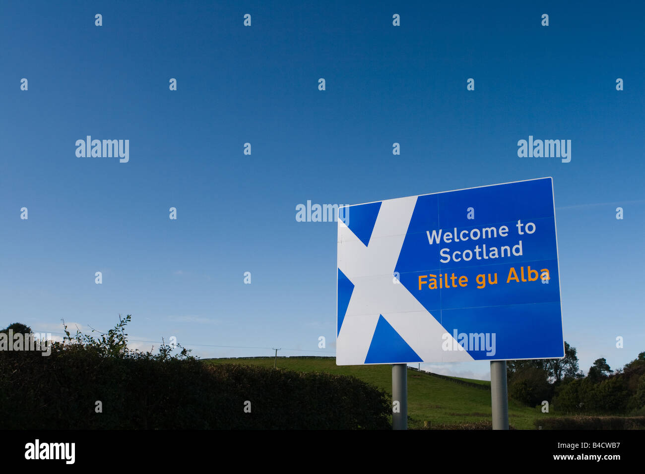 Welcome to Scotland Sign - Stock Image