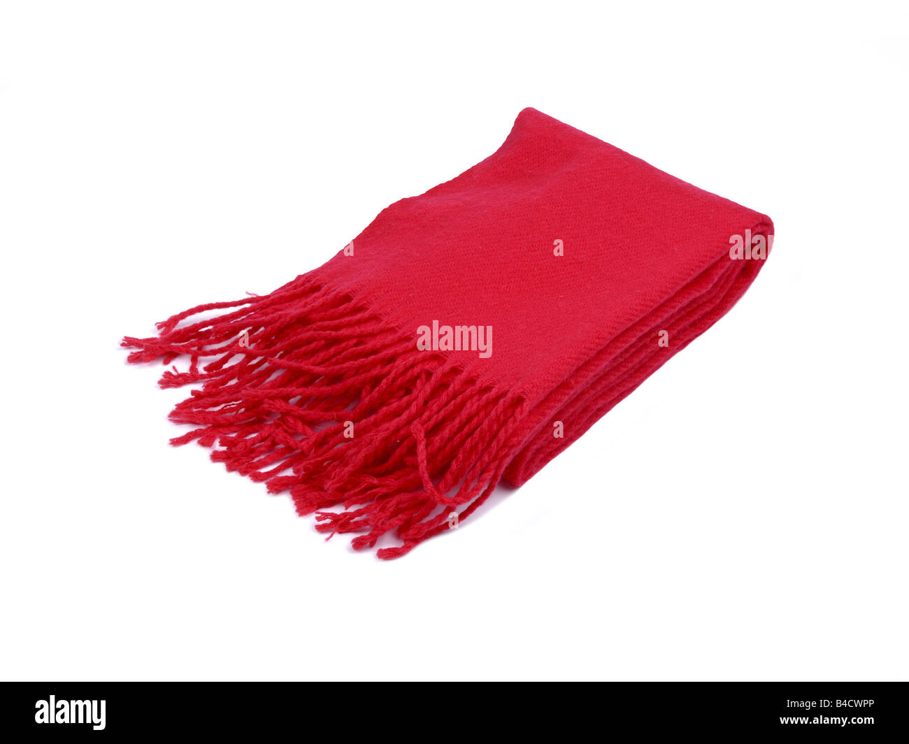 Red Wool winter scarf - Stock Image