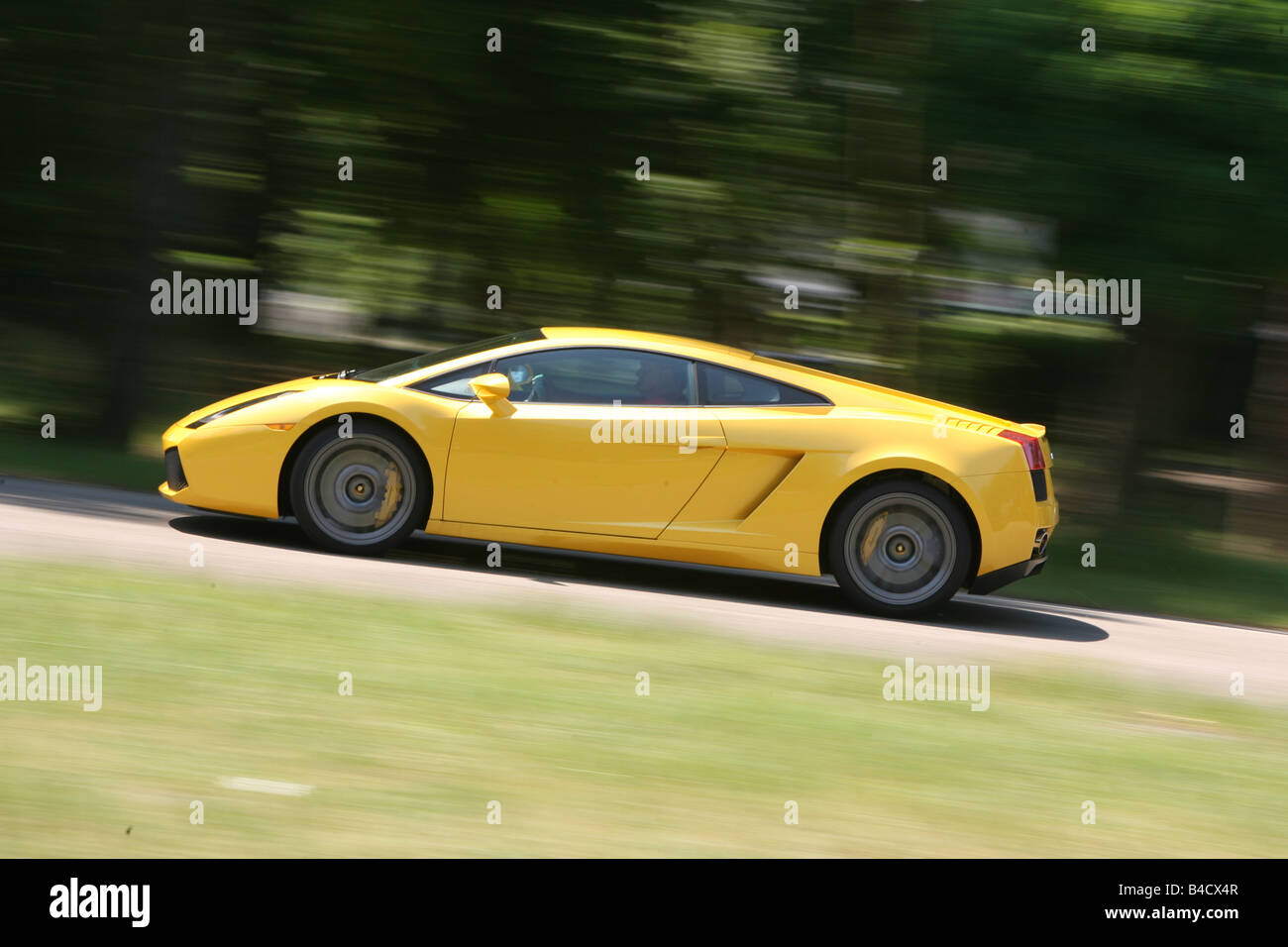 Lamborghini Gallardo, Model Year 2005 , Yellow, Driving, Side View, Road
