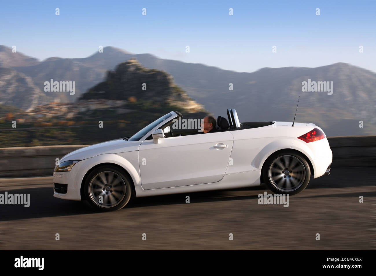 Audi TT Roadster Model Year 2006 White Driving Side View Landsapproxe Mountains Country Road Open Top