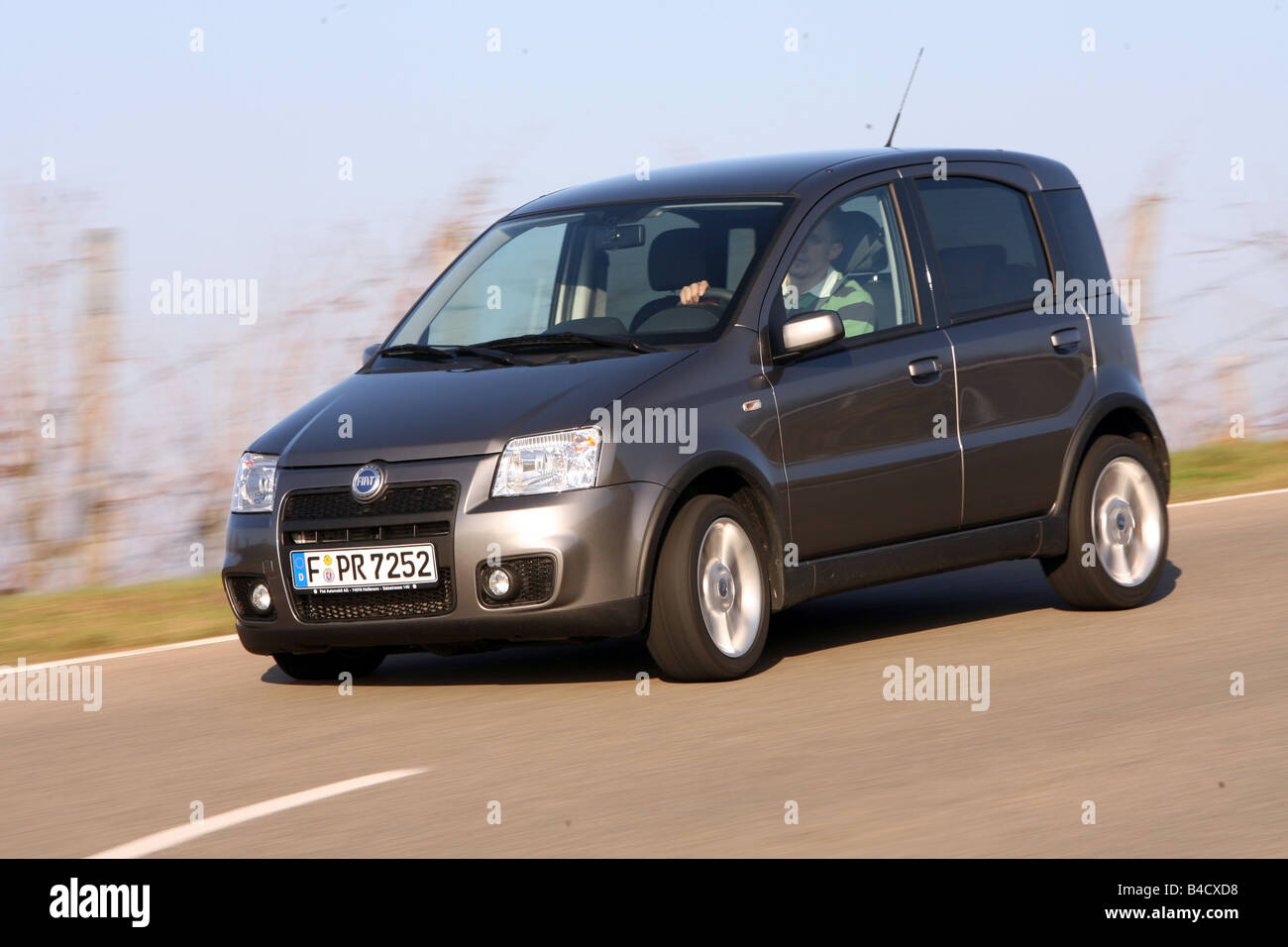 Fiat Panda 100 HP, model year 2006, anthracite, driving, diagonal from the front, frontal view, country road - Stock Image