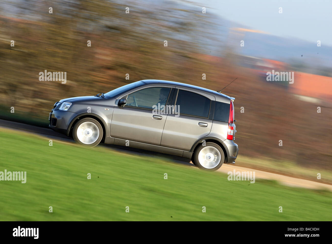 Fiat Panda 100 HP, model year 2006, anthracite, driving, side view, country road - Stock Image